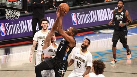 Brooklyn Nets forward Kevin Durant puts up a