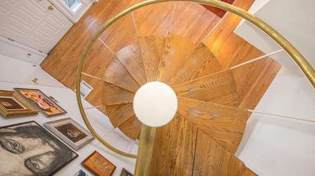 The foyer seen from the spiral staircase above.