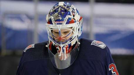 Igor Shesterkin of the Rangers looks on after