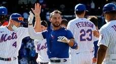 Michael Conforto #30 of the Mets celebrates with