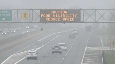 Foggy conditions Sunday on the eastbound Long Island