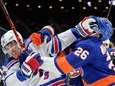The Rangers' Ryan Strome fights with the Islanders'
