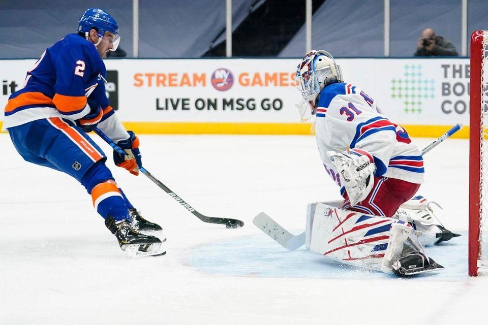 Rangers goaltender Igor Shesterkin stops a shot on