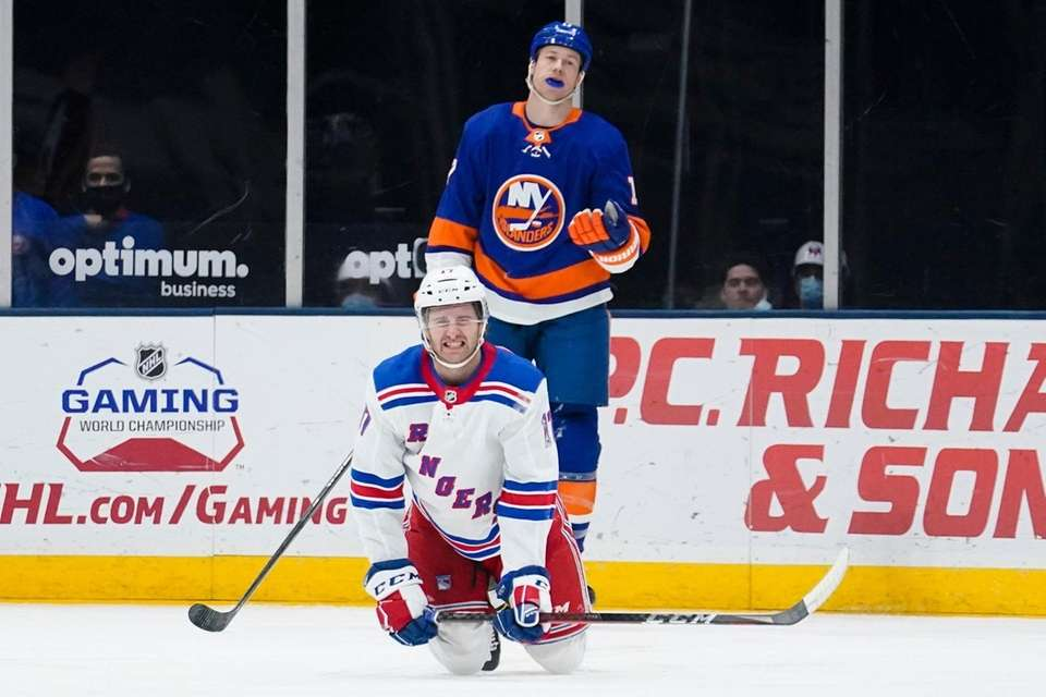 The Islanders' Matt Martin reacts to a penalty