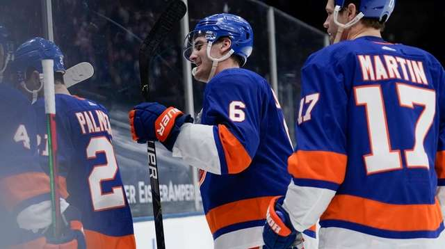 The Islanders' Ryan Pulock leaves the ice with