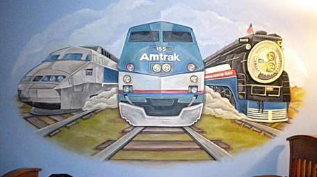 """""""Trains,"""" a boys room mural by Greenfield"""