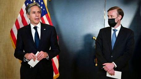 Secretary of State Antony Blinken, left, and national