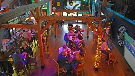 An overhead view of the main dining area