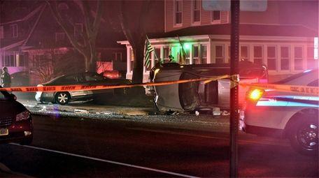 Suffolk County police investigate the scene of the