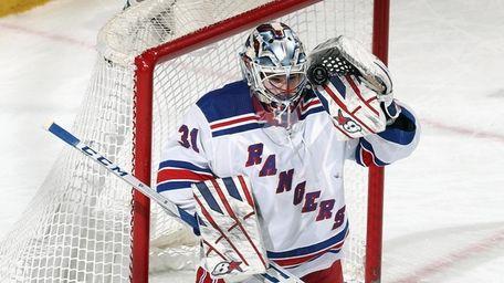 Igor Shesterkin #31 of the Rangers makes the