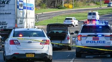Police on the Nassau Expressway in Inwood, where