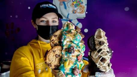 Victoria Mangan holds a make-your-own cereal cone at
