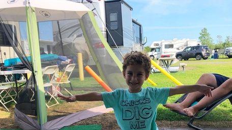 Camper yoga - Jack Cronemeyer, 3, Massepequa doing