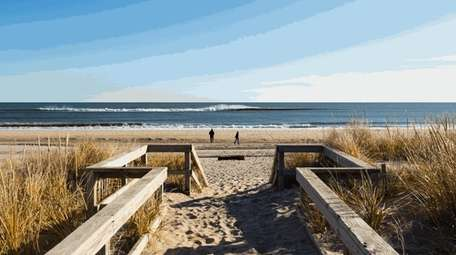 A boardwalk leads to the ocean at Sagg