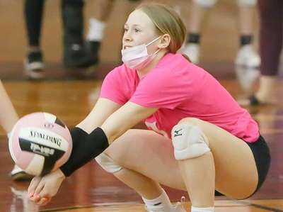 Bay Shore's Samantha Russo (1) plays the ball