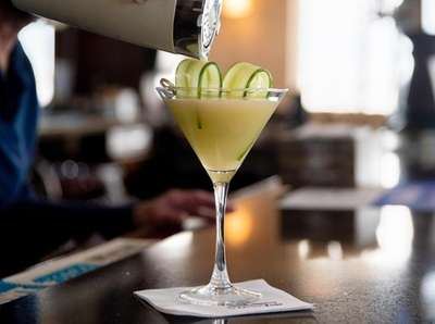 The cucumber martini at the View in Oakdale.