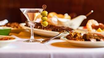 The martini with olives at Peter Luger Steakhouse