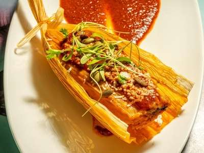 Tamale dish at Coche Comedor in Amagenset, NY