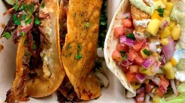 Birria tacos, with one fish taco, from the