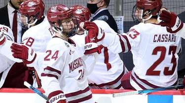 Zac Jones #24 of the Massachusetts Minutemen celebrates