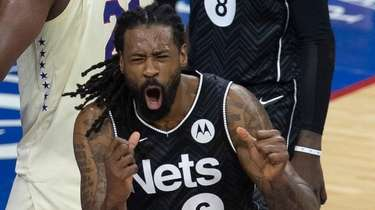DeAndre Jordan of the Brooklyn Nets reacts after