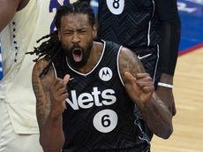 DeAndre Jordan of the Brooklyn Nets reacts after
