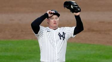 Nick Nelson #79 of the Yankees reacts on