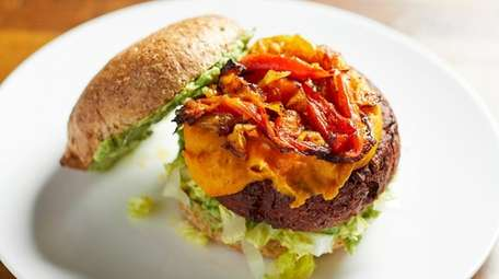 """The """"dirty"""" beet burger with sauteed onions and"""