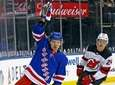 New York Rangers' Artemi Panarin reacts after scoring
