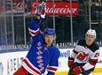 New York Rangers' Artemi Panarin reacts after scoring