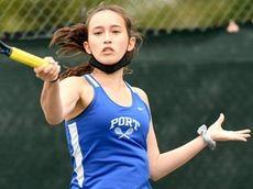 Dasha Pefiliev of Port Washington returns the ball