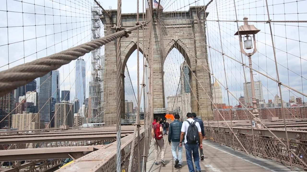 The Brooklyn Bridge handles about 30,000 pedestrians and