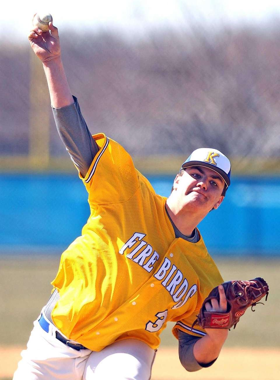 Kellenberg's Matt Weissheir throws a pitch. (April 6,