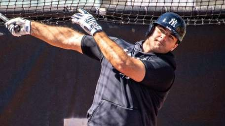 Yankees infielder Mike Ford at batting practice during