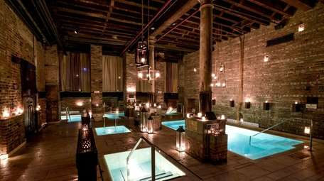 The interior of AIRE Ancient Baths in Manhattan.