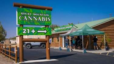 Customers line up at Rocky Mountain Cannabis in