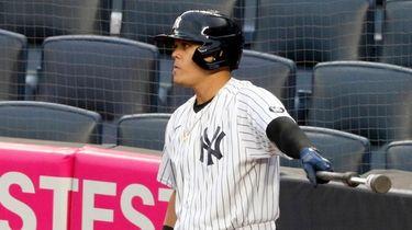 Gio Urshela #29 of the Yankees waits on