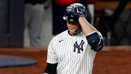 Giancarlo Stanton #27 of the Yankees strikes out
