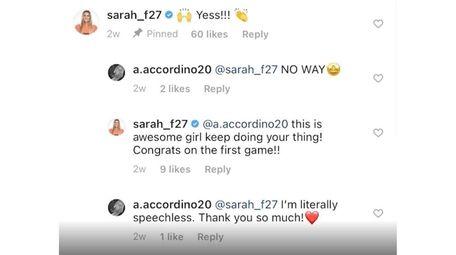 The exchange on Instagram between Alyssa Accordino and