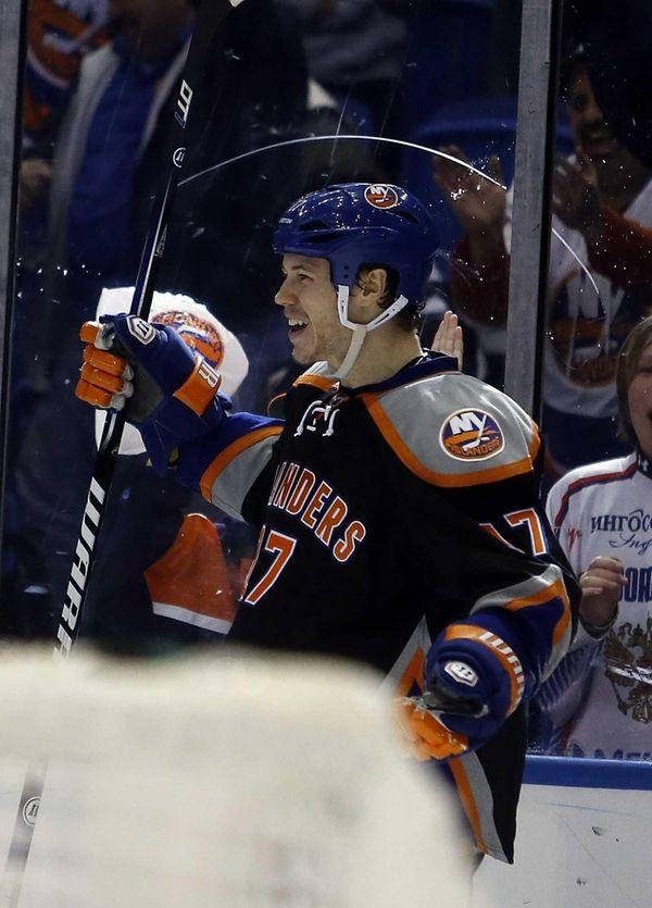 Islanders left wing Matt Martin celebrates his score