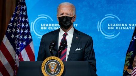 President Joe Biden speaks to the virtual Leaders
