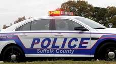 A Suffolk County Police cruiser pulls over a
