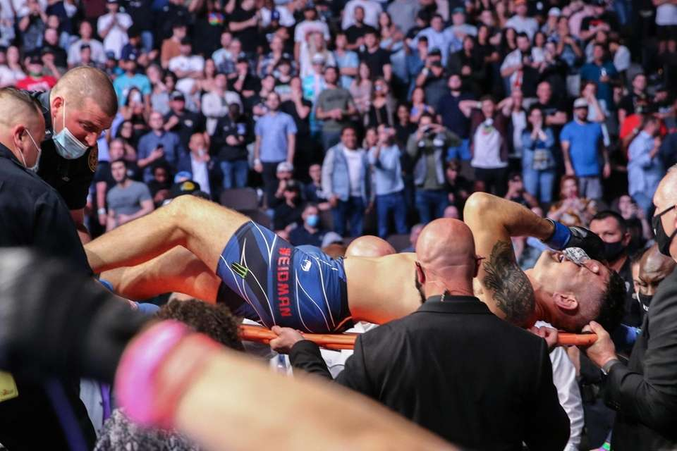 Chris Weidman of the United States leaves the