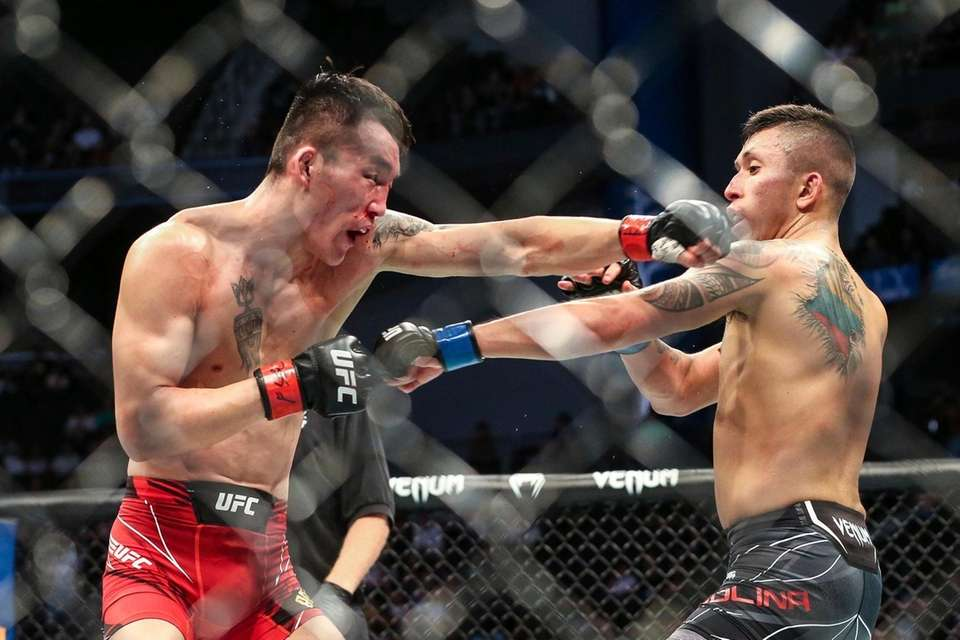 Aoriqileng, left, and Jeffrey Molina fight during a