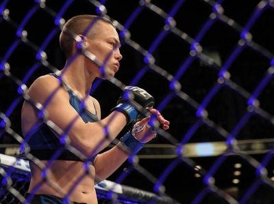 Rose Namajunas of the United States fights Zhang