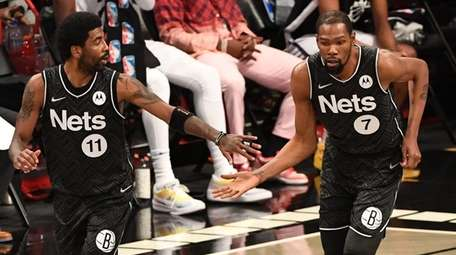 Nets forward Kevin Durant and guard Kyrie Irving