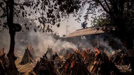 Funeral pyres of patients killed by COVID-19 at