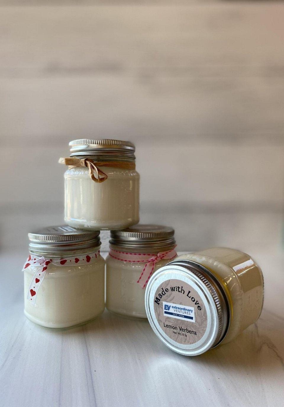 Handmade soy candles scented in lemon verbena, lavender