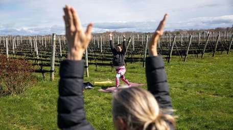 Yoga instructor Alison Delaney at an outdoor fitness