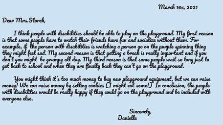A letter written to the principal of Dickinson